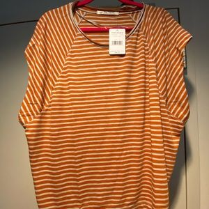 NWT Free People Copper and white striped blouse
